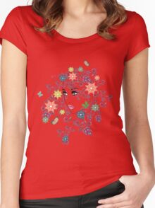 Summer Girl with Floral  Women's Fitted Scoop T-Shirt