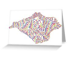 Isle of Wight text map in rainbow colours Greeting Card