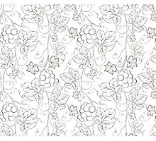Seamless grape pattern black and white Photographic Print