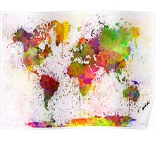 World map in watercolor  Poster