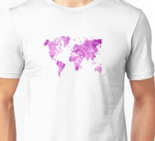 World map in watercolor pink Unisex T-Shirt