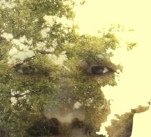 Double exposure of bearded guy and forest Sticker
