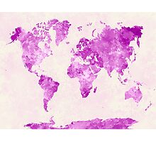 World map in watercolor pink Photographic Print