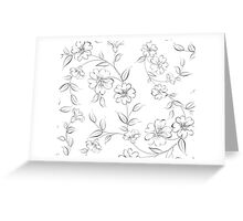 Elegant monochrome flowers fabric. Greeting Card