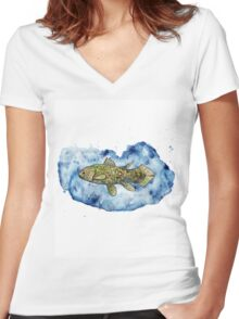 Coelacanth in a splash of watercolour Women's Fitted V-Neck T-Shirt