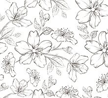 Cherry blossom seamless pattern. by Kotkoa