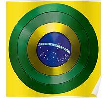 CAPTAIN BRAZIL - Captain America inspired Brazilian shield Poster