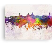 Florence skyline in watercolor background Canvas Print