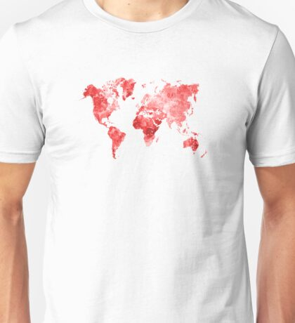 World map in watercolor red Unisex T-Shirt