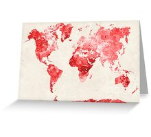 World map in watercolor red Greeting Card
