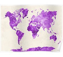 World map in watercolor purple Poster