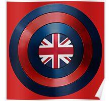 CAPTAIN BRITAIN - Captain America inspired British shield Poster