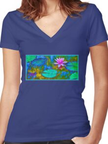 Lily Pad Lotus Blossom Women's Fitted V-Neck T-Shirt