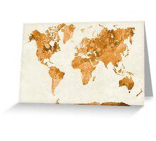 World map in watercolor orange Greeting Card