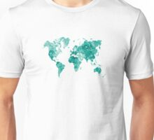 World map in watercolor green Unisex T-Shirt
