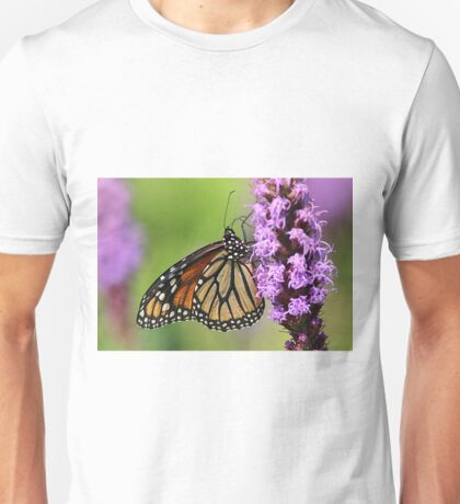 Monarch butterfly on lavender liatris Unisex T-Shirt