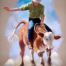 Rodeo: Steer Rider, Boy Riding Steer, Pastel Painting by Joyce Geleynse