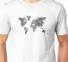 World map in watercolor gray Unisex T-Shirt