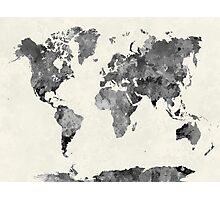 World map in watercolor gray Photographic Print