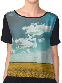 Yellow Rapeseed Flowers Field With Blue Sky Chiffon Top