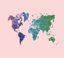 World map in watercolor multicolored One Piece - Short Sleeve