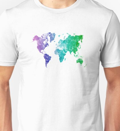 World map in watercolor multicolored Unisex T-Shirt