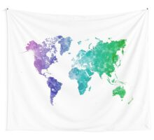 World map in watercolor multicolored Wall Tapestry