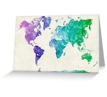 World map in watercolor multicolored Greeting Card
