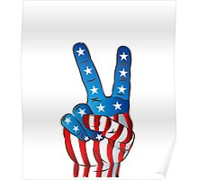 American Patriotic Victory Peace Hand Fingers Sign iPhone Case / iPad Case / T-Shirt / Samsung Galaxy Cases  / Pillow / Tote Bag / Prints / Duvet Poster