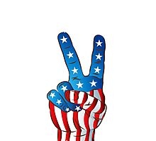 American Patriotic Victory Peace Hand Fingers Sign iPhone Case / iPad Case / T-Shirt / Samsung Galaxy Cases  / Pillow / Tote Bag / Prints / Duvet Photographic Print