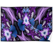 Purple Snails and Flowers Poster