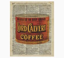 Vintage Lord Calvert Coffee Can Illustration,Vintage Dictionary Art Collage One Piece - Short Sleeve