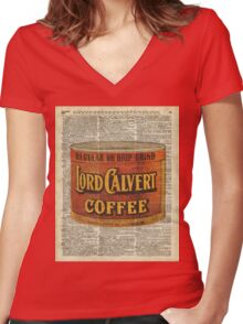 Vintage Lord Calvert Coffee Can Illustration,Vintage Dictionary Art Collage Women's Fitted V-Neck T-Shirt