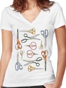 Scissors Collection Women's Fitted V-Neck T-Shirt
