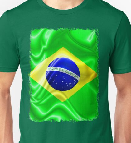 Brazil Flag Waving Silk Fabric Unisex T-Shirt