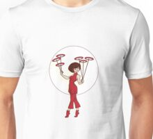 Pin-up girl make Chinese stunt of plate spinning  Unisex T-Shirt