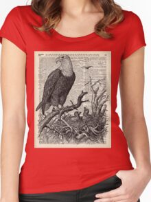 Eagles in Nest,Pen and Ink Drawing,Vintage Dictionary Book Page Art Women's Fitted Scoop T-Shirt