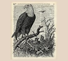 Eagles in Nest,Pen and Ink Drawing,Vintage Dictionary Book Page Art Unisex T-Shirt