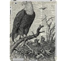 Eagles in Nest,Pen and Ink Drawing,Vintage Dictionary Book Page Art iPad Case/Skin