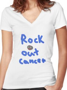 Rock Out Cancer Women's Fitted V-Neck T-Shirt