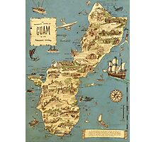 Vintage 1949 guam map - christmas gift for her Photographic Print