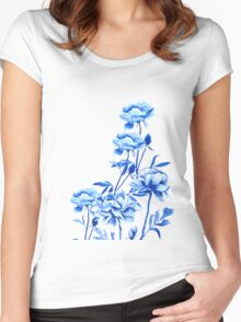 blue peony arrangement  Women's Fitted Scoop T-Shirt