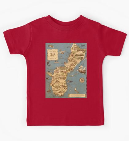 Vintage 1949 guam map - christmas gift for her Kids Tee