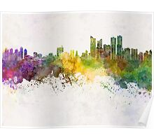 Busan skyline in watercolor background Poster