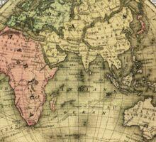Eastern Hemisphere Earth Vintage  Map Dictionary Art Sticker
