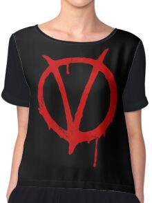 V for Vendetta Vintage Symbol Chiffon Top