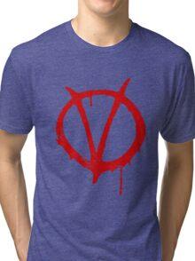V for Vendetta Vintage Symbol Tri-blend T-Shirt