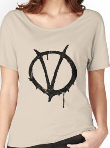 V for Vendetta Vintage Symbol Women's Relaxed Fit T-Shirt