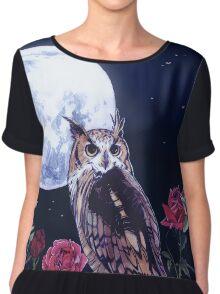 Owl Roses & Moon | Búho, Rosas y la Luna Chiffon Top