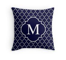 Navy Blue Quatrefoil White Monogram M Throw Pillow